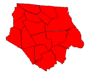 Presidential election results in Ashe County, 2012 (blue = Obama, red = Romney)