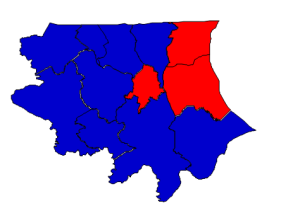 Presidential election results in Bertie County (Obama = blue; Romney = red)
