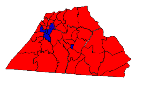 2012 presidential election results in Catawba County (blue = Obama; red = Romney)