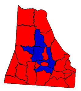 2012 presidential election results in Cleveland County (blue = Obama; red = Romney)