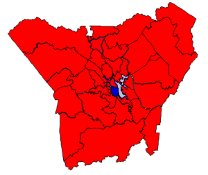 2012 Presidential election results (blue = Obama; red = Romney; gray = tie)