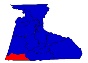 2012 presidential election results in Hertford County (blue = Obama; red = Romney)