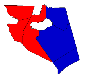 2012 Presidential election results in Hyde County (blue = Obama; red = Romney)