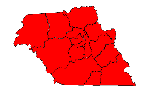 2012 Presidential election results in Macon County (blue = Obama; red = Romney)