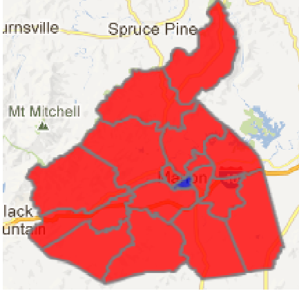 2012 presidential election results in McDowell County (blue = Obama; red = Romney)