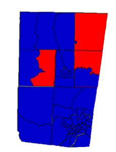 Orange County presidential results, 2012 (blue = Obama; red = Romney)