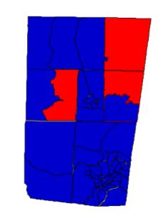 Orange County presidential results, 2012 (blue = Obama; red = Romney)