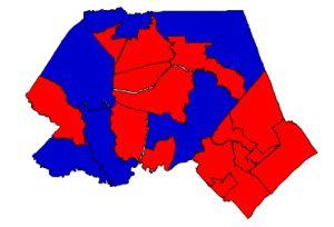 Presidential election results in Pender County, 2012 (blue = Obama; red = Romney)