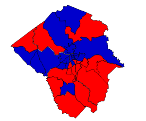 Presidential election 2012 results in Pitt County (blue = Obama; red = Romney)