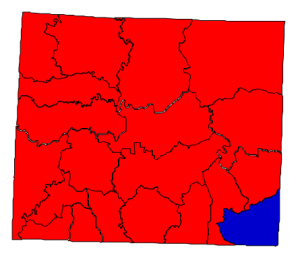 2012 presidential election results in Stokes County (blue = Obama; red = Romney)
