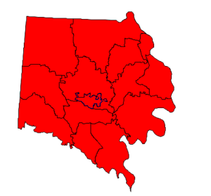 2012 presidential election results in Davie County (blue = Obama; red = Romney)