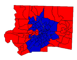 2012 presidential election results in Forsyth County (blue = Obama; red = Romney)