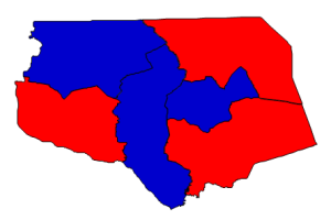 2012 presidential election results in Gates County (blue = Obama; red = Romney)