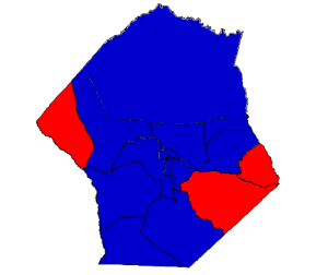 2012 presidential election results in Hoke County (blue = Obama; red = Romney)