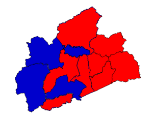 2012 presidential election results in Madison County (blue = Obama; red = Romney)