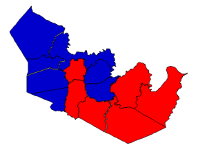 2012 presidential election results in Martin County (blue = Obama; red = Romney)