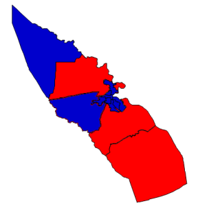 2012 presidential election results in Pasquotank County (blue = Obama; red = Romney)