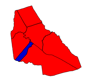 2012 presidential election results in Perquimans County (blue = Obama; red = Romney)