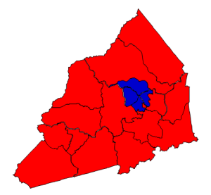 2012 presidential election results in Transylvania County (blue = Obama; red = Romney)