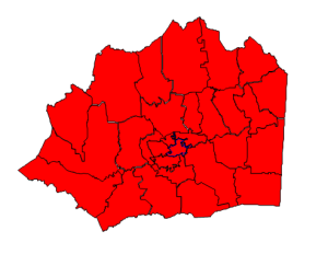2012 presidential election results in Wilkes County (blue = Obama; red = Romney)