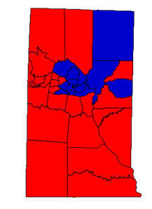 2012 presidential election results in Alamance County (blue = Obama; red = Romney)