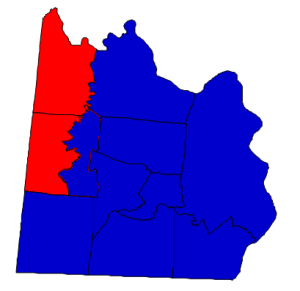 2012 presidential election results in Anson County (blue = Obama; red = Romney)
