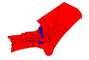 2012 presidential election results in Carteret County (blue = Obama; red = Romney)