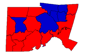 2012 presidential election results in Chatham County (blue = Obama; red = Romney)