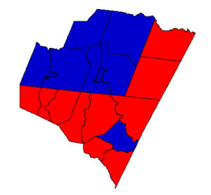 2012 presidential election results in Franklin County (blue = Obama; red = Romney)