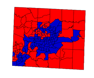 2012 presidential election results in Guilford County (blue = Obama; red = Romney)