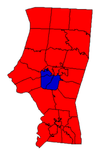 2012 presidential election results in Iredell County (blue = Obama; red = Romney)