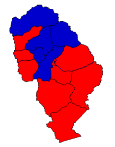 2012 presidential election results in Jackson County (blue = Obama; red = Romney)