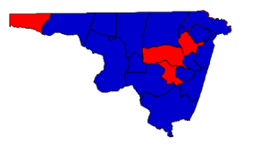 2012 presidential election results in Northampton County (blue = Obama; red = Romney)