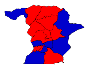 2012 presidential election results in Richmond County (blue = Obama; red = Romney)