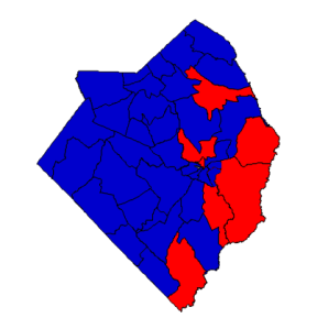 2012 presidential election results in Robeson County (blue = Obama; red = Romney)