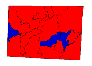 2012 presidential election results in Rockingham County (blue = Obama; red = Romney)