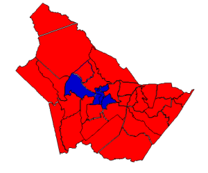 2012 presidential election in Burke County (blue = Obama; red = Romney)