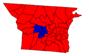 2012 presidential election results in Gaston County (blue = Obama; red = Romney)