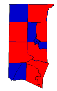 2012 presidential election results in Granville County (blue = Obama; red = Romney)