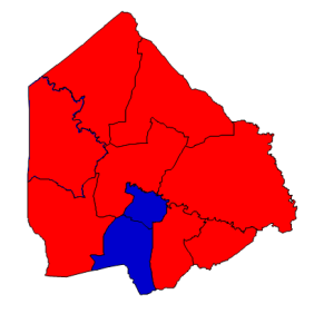 2012 presidential election results in Greene County (blue = Obama; red = Romney)