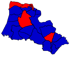 2012 presidential election in Halifax County (blue = Obama; red = Romney)