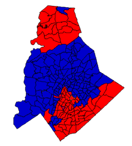 2012 presidential election results in Mecklenburg County (blue = Obama; red = Romney)