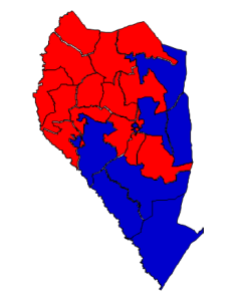 2012 presidential election results in Sampson County (blue = Obama; red = Romney).  The precinct map is identical to what it was in 2008.