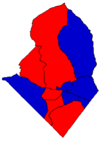 2012 presidential election results in Scotland County (blue = Obama; red = Romney)
