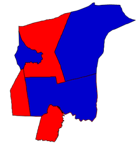 2012 presidential election results in Tyrrell County (blue = Obama; red = Romney)