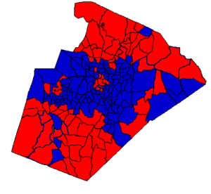2012 presidential election results in Wake County (blue = Obama; red = Romney)