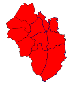 2012 presidential election results in Yancey County (blue = Obama; red = Romney)