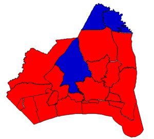 2012 presidential election results in Brunswick County (blue = Obama; red = Romney)