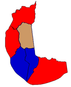 2012 presidential election in Chowan County (blue = Obama; red = Romney; tan = tie)