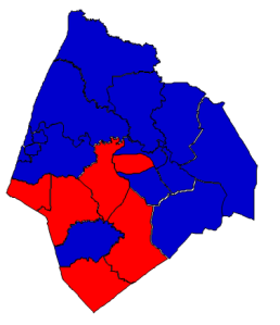 2012 presidential election results in Edgecombe County (blue = Obama; red = Romney)